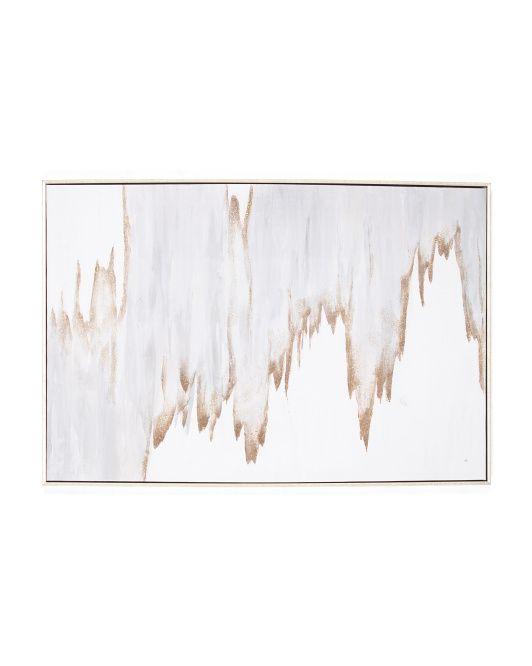 24x36 Golden Waves Canvas Wall Art Brass Wall Art Framed Canvas Wall Art Canvas Wall Art