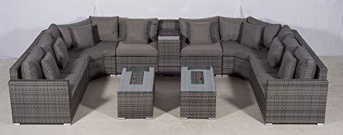 Giardino Santorini Large 8 Seater Grey Rattan Sofa Set With 2 Drinks Cooler Coffee Tables Armrest Rattan Outdoor Furniture Rattan Sofa Rattan Furniture Set