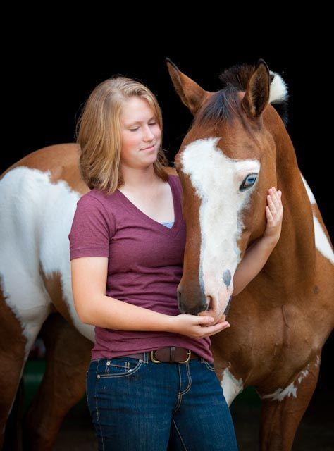 Senior Portrait with Paint horse