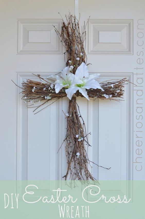 Diy easter decorations decor ideas for the home and table diy easter cross wreath cute - Dollar store home decor ideas pict ...