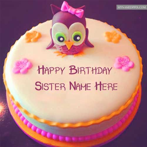 Write Sister Name Happy Birthday Rose Cake Image Send With Images