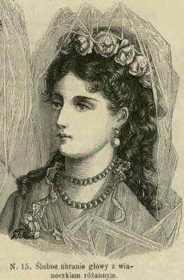 Fryzura do ślubu z wieńcem róż, 1874    Bridal hairstyle with rose wreath, 1874