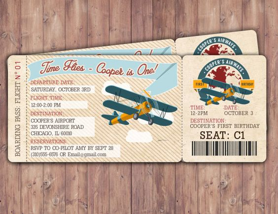 Vintage Airplane Boarding Pass Birthday Invitation by LyonsPrints