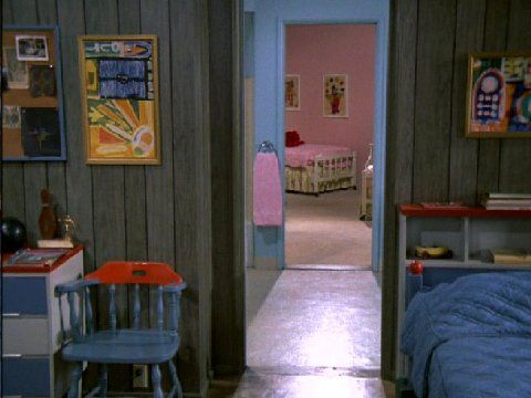 Brady Bunch: view from boys' bedroom through bathroom, to girls' bedroom: