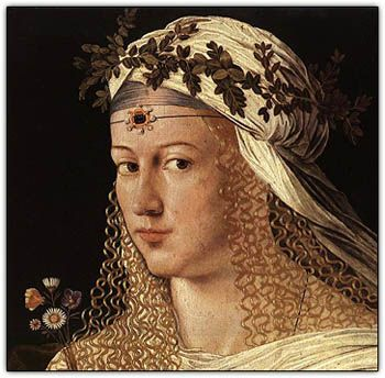 Lucrezia Borgia (: 18 April 1480 – 24 June 1519) was the illegitimate daughter of Rodrigo Borgia, who later became Pope Alexander VI. Her brothers included Cesare Borgia, and Gioffre Borgia. It is often suggested that Cesare and Lucrezia may have had an incestuous relationship. Lucrezia was married to Giovanni Sforza, Alfonso of Aragon, and Alfonso I d'Este. Tradition has it that Alfonso of Aragon was murdered by her brother Cesare, after his political value waned.
