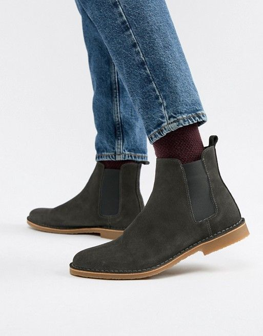 Boots, Chelsea boots, Gray suede