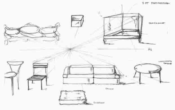 Simple Furniture Objects Quickly Drawn By Students In Gid