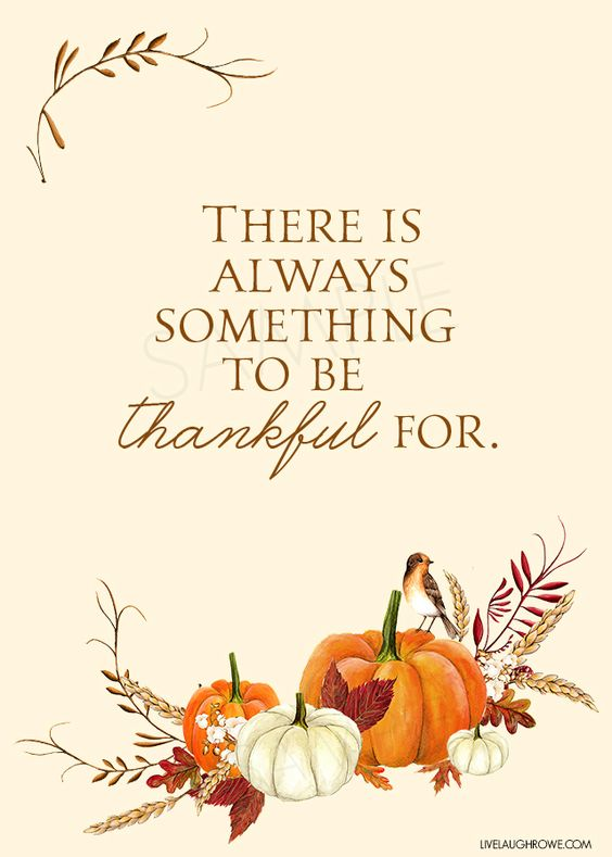 "Love this thankful printable with the quote, ""There is always something to be thankful for."" Such a great Thanksgiving reminder. livelaughrowe.com:"