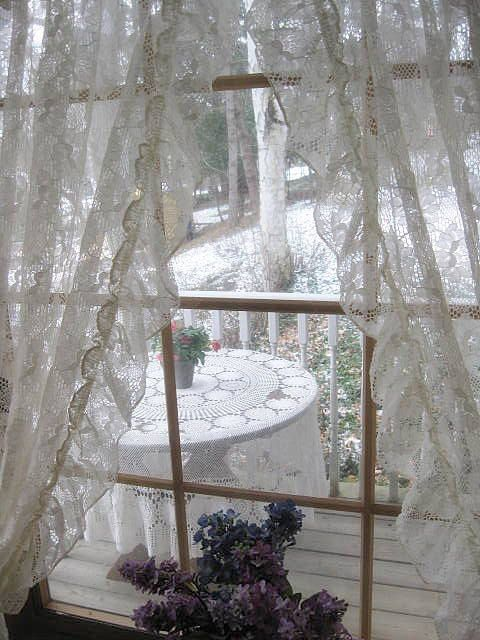 Shabby chic window and scalloped edge on pinterest Shabby chic curtain window