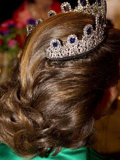 Queen Silvia, 2010 Nobel Prize ceremony wearing the Leuchtenberg Sapphire Tiara, as seen from the back.