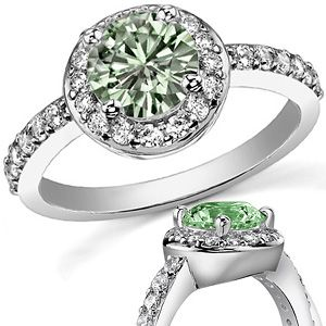 Green Round Moissanite Halo Engagement Ring