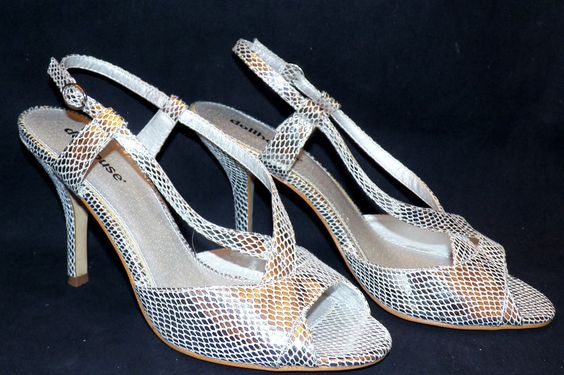 Dollhouse Segina Strappy Stiletto Heel Pump Silver Faux Snakeskin Sandal US 10 #Dollhouse #Strappy