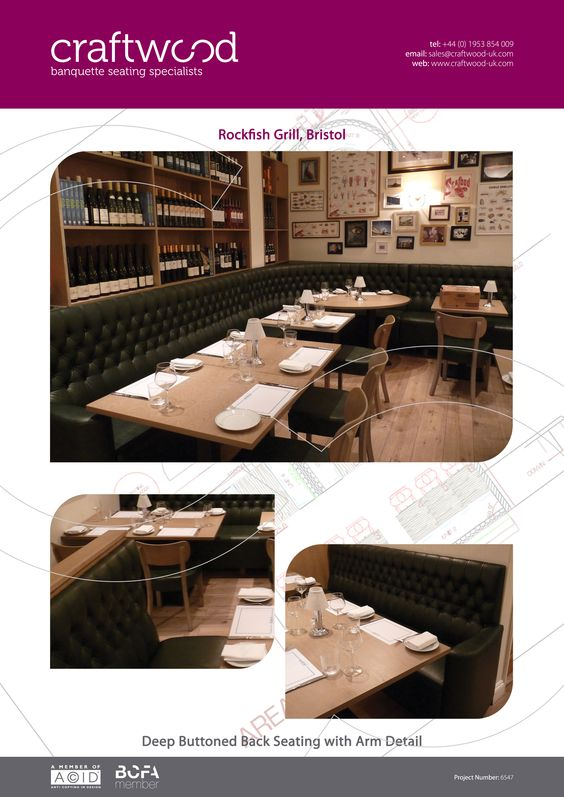 Rockfish Grill, Bristol - Deep Buttoned Back Seating with Arm Detail