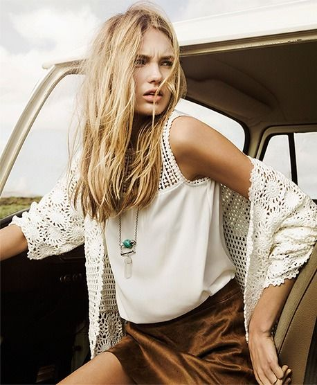The beautiful Romee Strijd in Stradivarius spring/summer campaign 2015. Photographed by Bèla Adler and Salvador Fresneda