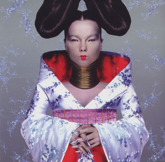 """Homogenic, 1997 / One Little Indian Björk approached fashion designer Alexander McQueen to create an outfit that would evoke Homogenic's song about a someone who """"had to become a warrior. A warrior who had to fight not with weapons, but with love."""""""