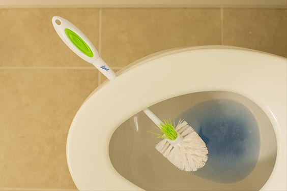Drying the Lysol Bowl Brush over a toilet, using the lid. Photo courtesy of Kim Christensen/A Real-Life Housewife.