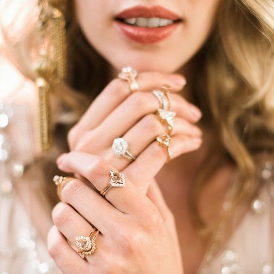 Anna Sheffield engagement rings galore captured by Rustic White