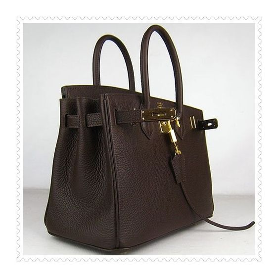 Hermes Birkin Handbag Chocolate Golden online -... via Polyvore