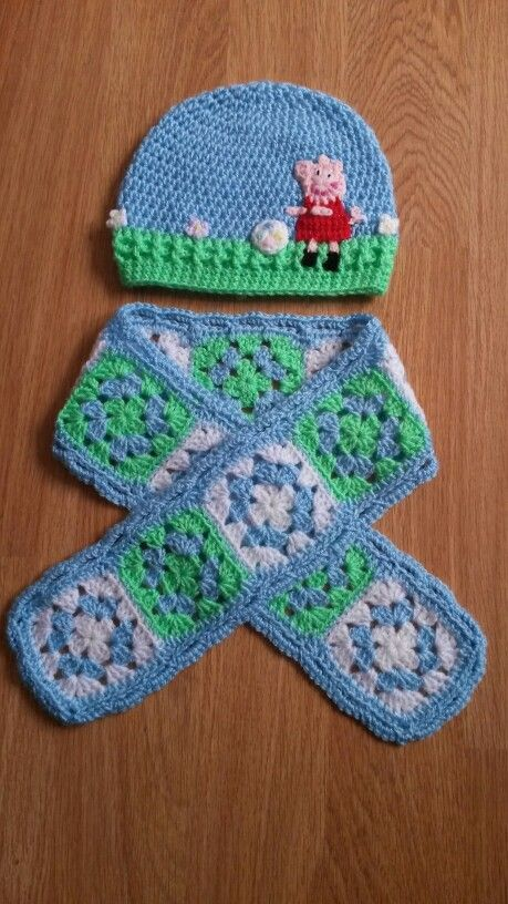 Peppa pig crochet hat and scarf to coordinate Pressis ...