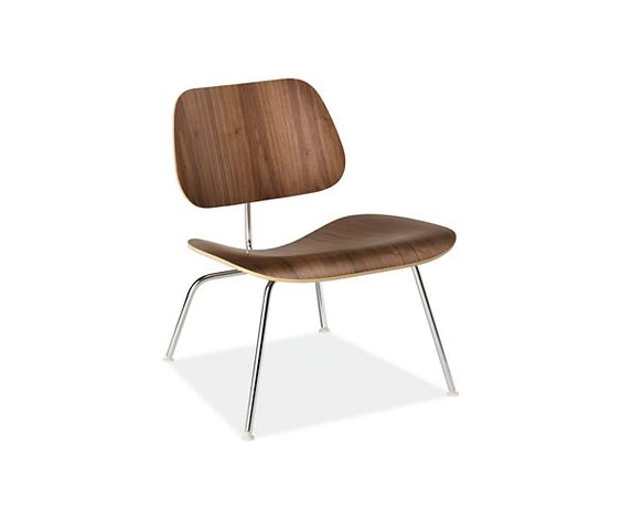 Room & Board - Eames® Molded Plywood Lounge Chair with Metal Leg in Walnut  by