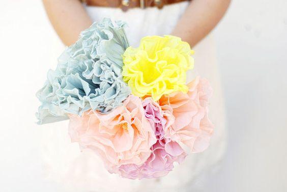 DIY: Crepe Papel buquê de flores