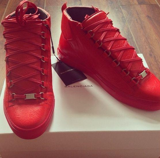 balenciaga arena sneakers red men