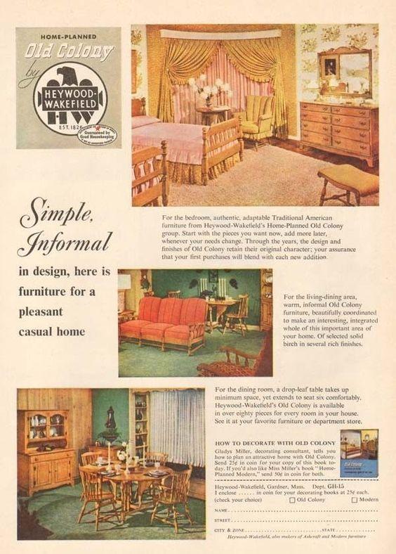 1950s Vintage Heywood Wakefield Old Colony Wood Furniture Dining Room Table Ad Furniture Dining Room Table Wakefield Furniture Heywood Wakefield Furniture