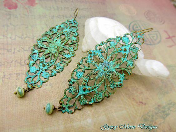 Long Bohemian earrings mint patina filigree dangle earrings boho earrings Bohemian jewelry