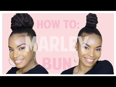 How To 2 High Buns With Marley Hair Natural Hair Youtube