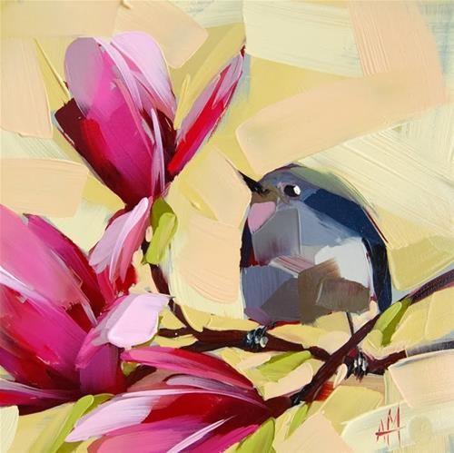 """Kinglet and Magnolia Blossoms"" - Original Fine Art for Sale - © Angela Moulton"