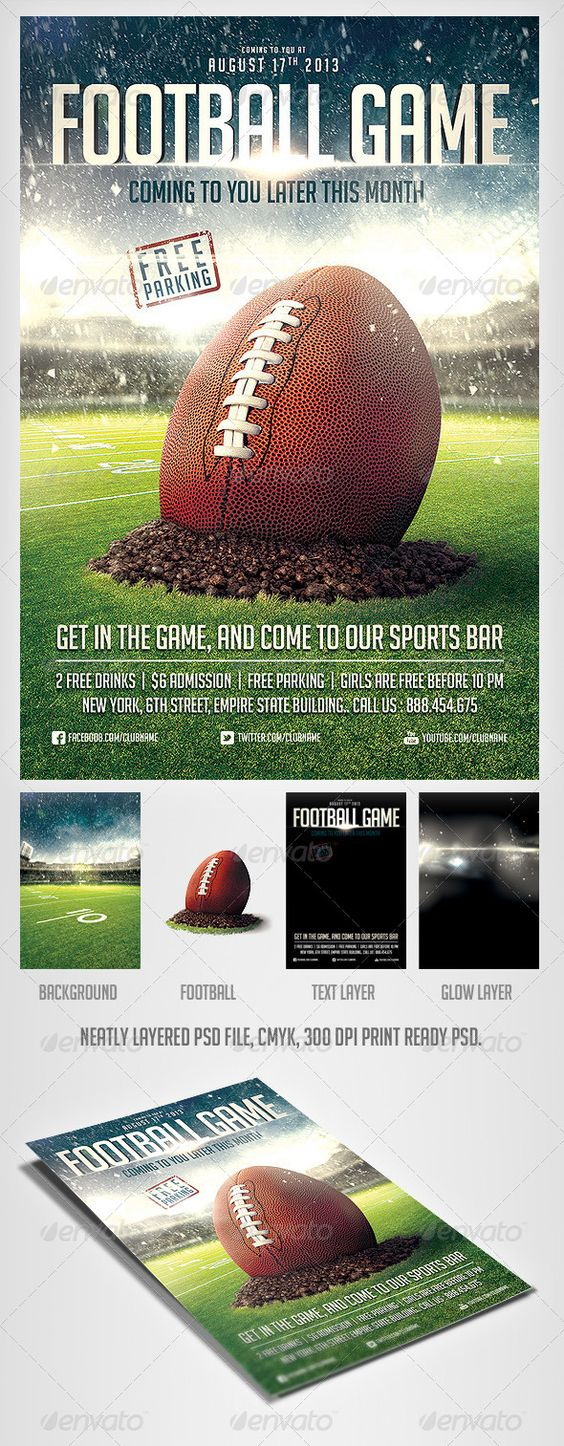 FootBall Game Flyer Template Pinterest – Sports Flyers Templates