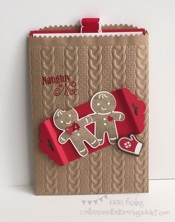Gift Card Holder with Cookie Cutter Christmas...look at that cute embossed bag!: