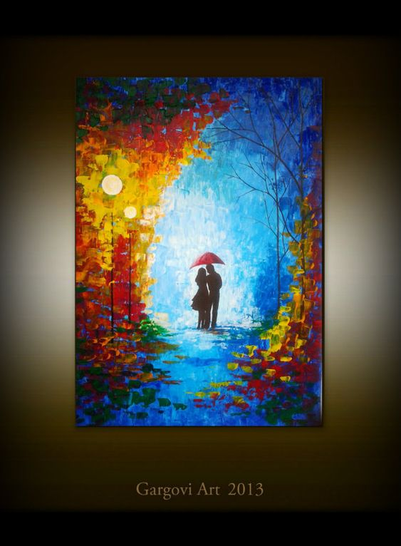 Palette Knife Oil Painting - Couple With Umbrella - Night Scene ...