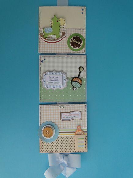 5 quadros pequenos (aproximadamente 10x10), decorados em papal scrapbook para o quarto do Bebê e/ou Quarto de Maternidade. Cores e temas podem ser alterados. Não mantemos estoques dos elementos decorativos. (alecrimartes@hotmail.com)