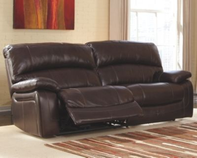 Damacio Reclining Sofa Dark Brown Leather Ashley Leather Sofa