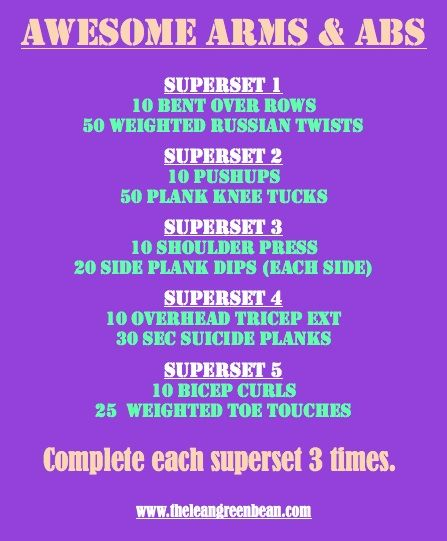 arms and abs: Arm Workout, Arms And Abs Workout Gym, Abs Superset, Green Bean, Armsandabs Fitness, Ab Workouts, Work Out, Arms Abs Back Workouts, Superset Workout