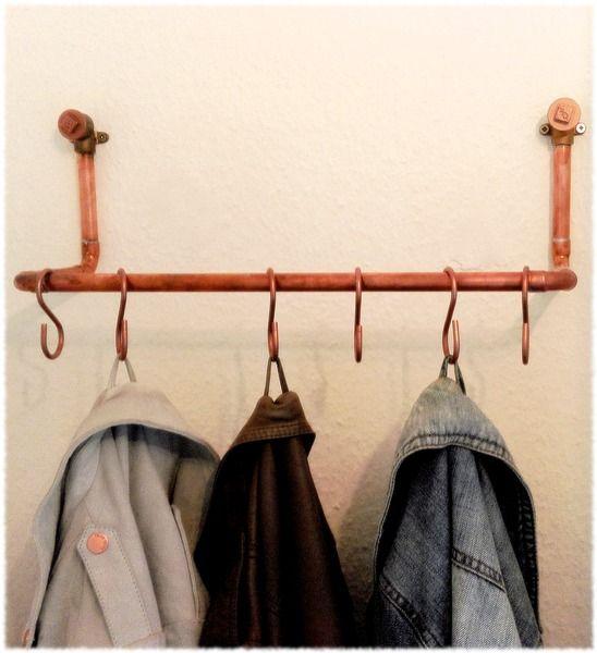 clean minimalistische garderobe aus kupfer von industrial chic auf wohnung. Black Bedroom Furniture Sets. Home Design Ideas