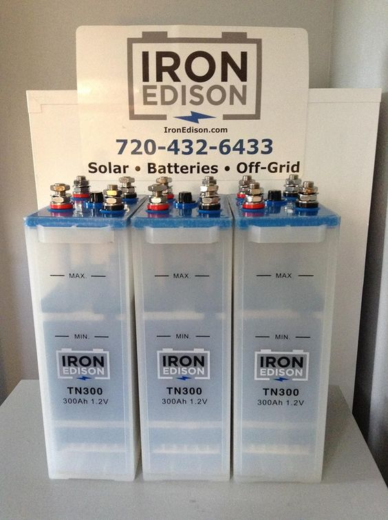 Nickel Iron (Ni-Fe) Battery  -  Iron Edison recommends Nickel Iron (Ni-Fe) battery technology for your off-grid or renewable energy storage needs. Vastly out-lasting the 5-7 year life cycle of their lead-acid counterparts, Nickel-iron battery systems have an expected life of 30+ years and are quickly becoming the environmentally sensitive choice for off-grid and renewable energy storage applications.