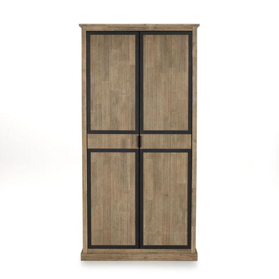 Armoire 2 portes style industriel Naturel brossé - Cocto - Les - decoration portes d interieur