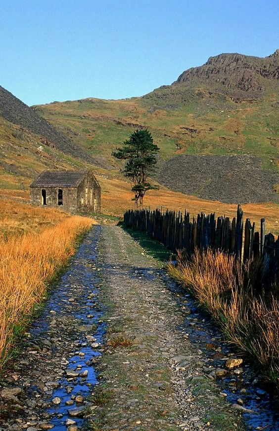Slate Fence Leading to the Chapel - Snowdonia National Park, Wales