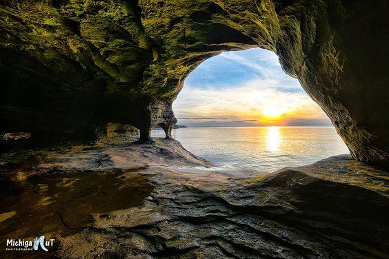 """Dragon's Eye"" Cave on Lake Superior - by John McCormick (sunset)"