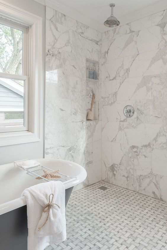White Marble Tiles Graphic Ones On The Floor And Square Ones On