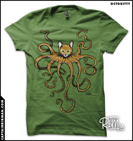 """OctoKitty / Cathulhu"" T-Shirts & Hoodies by Captain RibMan 