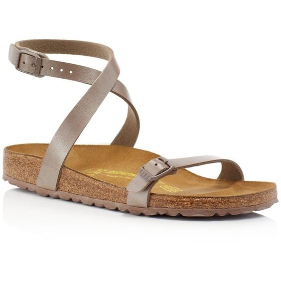 Birkenstock Daloa Ankle Strap Sandals (135 CAD) ❤ liked on Polyvore featuring shoes, sandals, brown, brown sandals, strap sandals, ankle wrap sandals, strappy sandals and strappy shoes