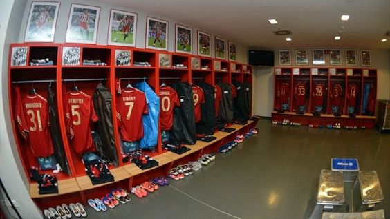 The Bayern dressing room at the Fußball Arena München