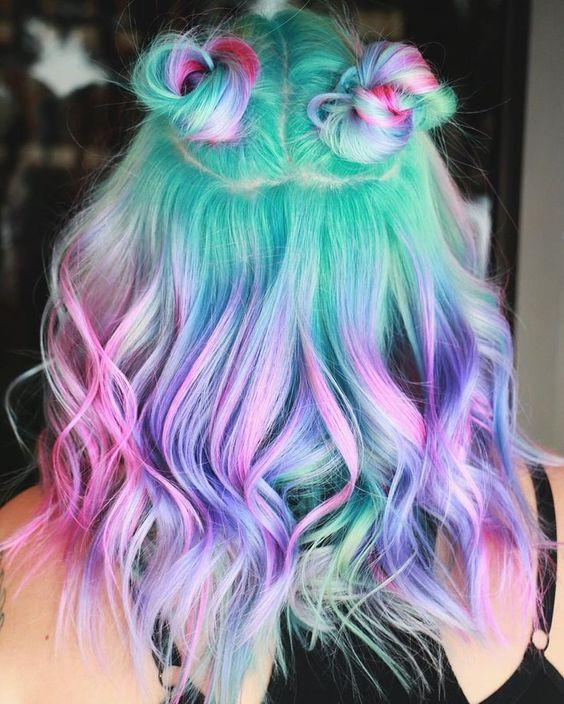 Colorful Green Pink Purple Blue Wave Shoulder Length Lace Front