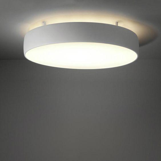 Plafonnier modular lighting flat moon plafonnier double clairage l blanc - Fabriquer un plafonnier ...