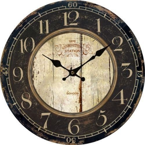 Muktat Antique Clock Wall Rustic Vintage Style Wooden Round Clocks Large Art Home Decor Country Wall Clock Vintage Wall Clock Wall Clock Wooden