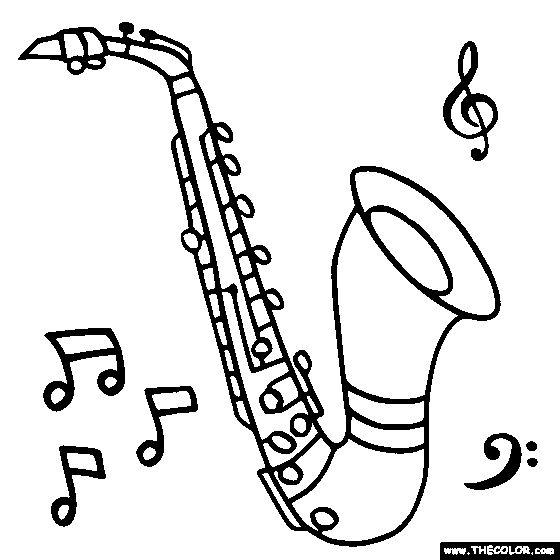 Alto Saxophone Coloring Page | Instruments | Pinterest ...