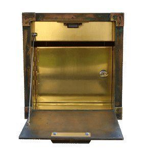 """Streetscape Gateway Recessed Solid Brass Wall Mount Mailbox With Lock by Streetscape. $264.00. Non-Locking Model: Overall: 9 1/2"""" H x 9 1/2"""" W x 17 1/2"""" D Recess Cavity: 8 1/4"""" W x 8 3/4"""" H x 17 3/4"""" D. Mailboxes are constructed completely of brass, using solid brass sheet, bar stock and hinges.. Locking Model: Overall: 9 1/2"""" H x 9 1/2"""" W x 17 1/2"""" D Recess Cavity: 8 1/4"""" W x 8 3/4"""" H x 17 3/4"""" D. Each Streetscape mailbox is hand crafted in the USA. Brass Numbering Option ..."""